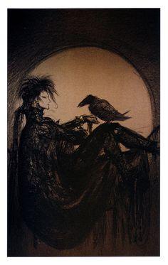 Illustration by Yoshitaka Amano for Sandman: The Dream Hunters by Neil Gaiman. Neil Gaiman, Morpheus Sandman, Final Fantasy, Fantasy Art, Death Sandman, Yoshitaka Amano, Vampire Hunter D, Rabe, Marvel