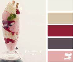 sundae hues: color palette for the kitchen? Colour Schemes, Color Combos, Kitchen Wall Colors, Design Seeds, Colour Board, Color Swatches, Color Pallets, House Colors, All The Colors
