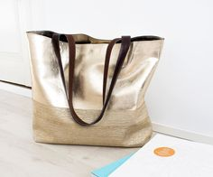 Gold Leather Tote Metallic Hobo Bag Lined Leather by gmaloudesigns