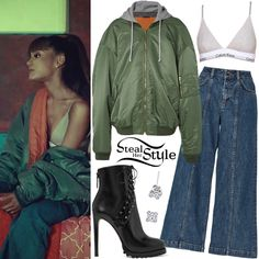 Ariana Grande and her boyfriend Mac Miller released their music video for 'My Favorite Part' yesterday. In the video Ariana appears wearing a Calvin Klein Modern Cotton Grey Triangle Bra (£32.00), a Vetements MA1 Oversized Shell Hooded Bomber Jacket ($2,625.00), Saloni Loulou Crop Denim Jeans ($125.00), Harry Kotlar Cushion Stud Earrings ($12,360.00) and Alaïa Lace-Up Leather Platform Ankle Boots ($1,760.00).