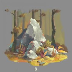 drawing tutorial Some new test rocks colors details and stuff! Digital Painting Tutorials, Digital Art Tutorial, Art Tutorials, Concept Art Tutorial, Game Concept Art, Art And Illustration, Illustrations, Kunst Inspo, Art Inspo