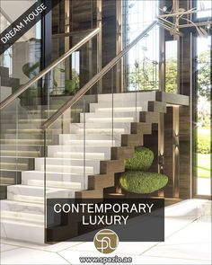 This is a unique staircase design videos with a sitting. Check out our the best interior design videos ideas for living rooms. #luxurymoderninteriors #villas #staircase #interiordesignideas #spaziointeriordecorationllc White House Interior, White Interior Design, Room Interior, Modern Interior, Interior Decorating, Staircase Interior Design, Interior Design Videos, Contemporary Architecture, Interior Architecture