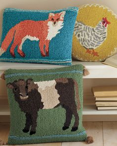 Animal Portrait Hooked Wool Pillow Cover