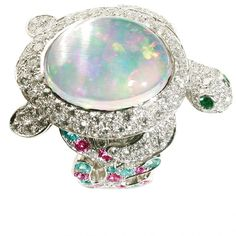 Lucky Animals Turtle Ring In White Gold With Opal Diamonds And Colored Stones By Mathon Paris