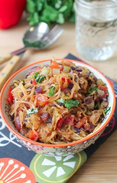 Spicy Spaghetti Squash Stir Fry - Try Spaghetti Squash to replace noodles with something Nutrient Dense #Heart-Friendly #Vegetarian