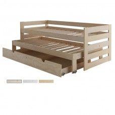 Cama compacta de 3 pisos en madera pulida + Cajón Almacenaje