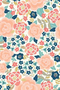 Pretty Floral by laura_mayes - Illustrated flowers in pink, turquoise, blue, and mauve on fabric, wallpaper, and gift wrap. Whimsical floral pattern with muted vintage hues.