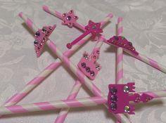 20 Princess Pink Paper Straws Cinderella, Disney Princess, Princess Party, Crown, Tiara, Castle, Wand by BakinMeCrazy on Etsy