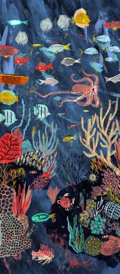 An underwater scene by artist Mouni Feddag, illustration for Scrawl Magazine #art