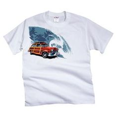 Catalog Spree Staging: Wave Woody - White Crew Neck T-Shirt - Crazy Shirts
