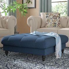 Darby Home Co Avoca Tufted Cocktail Ottoman Upholstery Color: Dark Blue Interior Design Living Room, Living Room Furniture, Living Room Designs, Living Room Decor, Living Rooms, Ottoman Furniture, Design Bedroom, Accent Furniture, Sofa Design
