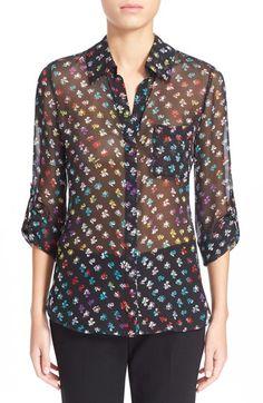 DIANE VON FURSTENBERG 'Lorelei Two' Floral Print Silk Blouse. #dianevonfurstenberg #cloth #shirt
