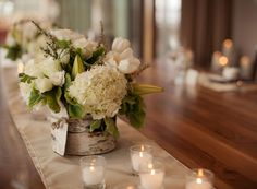 Reception flower piece! Also ok for dinning  table flower. just choose cheaper flowers. Birch bark vase centerpieces