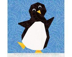 Penguin quilt block paper pieced quilt by PieceByNumberQuilts, $3.50