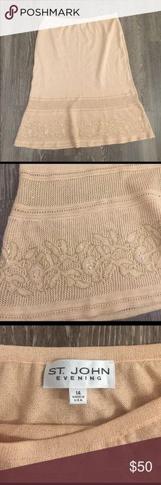 St. John Beautiful super luxurious St. John evening embroidered skirt. Light peach color. Mint condition St. John Skirts