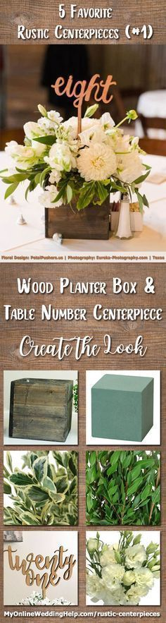 Wood planter box centerpiece with table number. This is a great way to have wedding items do double duty. Arrange flowers in a rustic planter box and add a number pick. If you are not talented in flower arrangements, use baby's breath or hydrangeas. There are links and information on the page on how to DIY your own centerpiece and/or contact the vendors about their services: Floral arrangement by Petal Pushers and photography by Eureka Photography. Austin, Texas. #weddingflowerarrangements