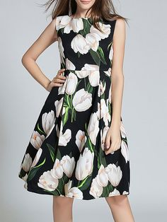 Shop Midi Dresses - Black Sleeveless Polyester Midi Dress online. Discover unique designers fashion at StyleWe.com.