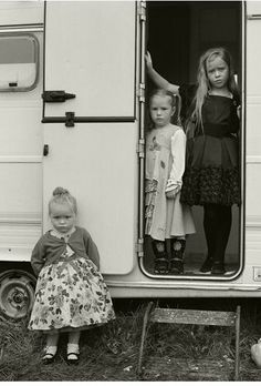 Traveller (Irish gypsies) girls and their home, Ballinasloe, Galway, Ireland 2011. Photographer: Joseph-Philippe Bevillard