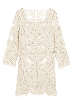 Crochet Lace Beige - Non Stretchable Fabric Dress