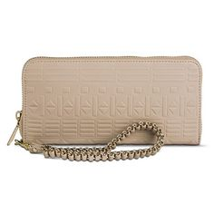 Women's Embossed Geometric Print Cell Phone Case Wallet - Taupe