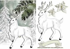 WHITE STAG WITH SNOW ON TREES on Craftsuprint designed by Nick Bowley - WHITE STAG WITH SNOW ON TREES, Makes a pretty christmas card add a touch of sparkle..cup556801_415 matching insert with verse, Also can be seen with horse and owl - Now available for download!