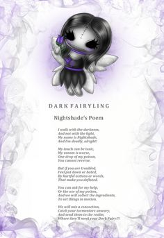 Mini Nightshade Dark Fairylings poem. Every Frightlings character comes with it's own spooky poem.