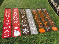 Reversible porch sign/Happy Fall Y'all/Sweet Summer Time/Hello Spring/let is snow/porch sign/rustic decor/reversible sign/happy Valentines Welcome Signs Front Door, Wooden Welcome Signs, Front Porch Signs, Wooden Signs, Door Signs, Front Porches, Fall Wood Signs, Fall Signs, Happy Fall Yall Signs