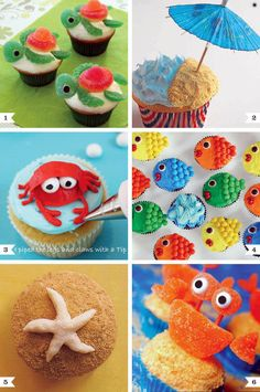 Under the Sea cupcake decorating ideas are great for a party, while watching Nemo.