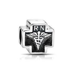 Bling Jewelry 925 Sterling Silver RN Nurse Cross Bead Pandora Compatible Charm -