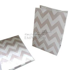 Grey Chevron Standing Treat Bags - Pack of 12 / Lolly Buffet Supplies