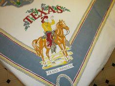 Vintage Reproduction Tablecloth Texas Cowboys & Oil Wells