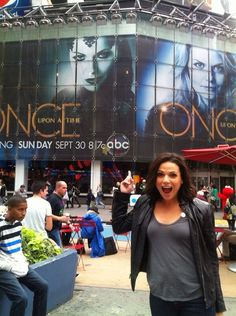 Lana Parrilla. I like how this one kid is just sitting on the side thinking 'what's up with this chic?'