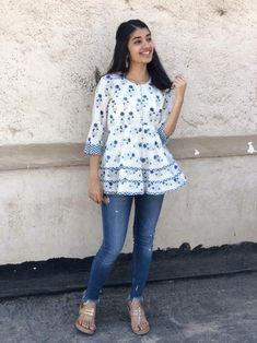 Short Kurti Designs, Simple Kurti Designs, Kurta Designs Women, Stylish Jeans Top, Girls Top Design, Kurti With Jeans, Casual Indian Fashion, Latest Top Designs, Stylish Dresses For Girls