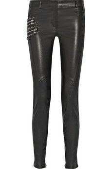 Versace Embellished mid-rise leather pants | NET-A-PORTER