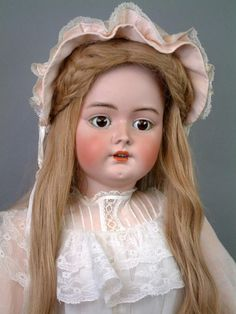 "HUGE Handwerck / Halbig Antique Bisque Child Doll 35"" in Lacy Costume"