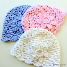Crochet PATTERN-Baby Hat With Flower-Baby Shower DIY