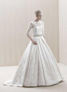 A-line Bateau Neckline 3/4 Length Sleeves Beaded Waistband Lace Satin Wedding Dress-wa0088, $272.95