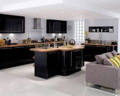 resin floor, wood top, black gloss cuboards