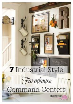 """Another pinner said: Is it me or does anyone else covet the industrial style farmhouse command center worthy of a """"fixer upper after"""" from Joanna Gains? I am obsessed with this look and am very excited to share seven of my favorites with you! Command Center Kitchen, Family Command Center, Command Centers, Kitchen Message Center, Family Message Center, Industrial Dining, Industrial Farmhouse, Industrial Style, Industrial Kitchens"""