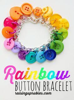Raising up Rubies: rainbow button bracelet ♥