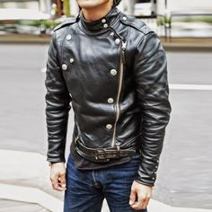Men's Leather Jackets: How To Choose The One For You. A leather coat is a must for each guy's closet and is likewise an excellent method to express his individual design. Leather jackets never head out of styl Men's Leather Jacket, Biker Leather, Leather Men, Leather Jackets, Best Leather, Vintage Leather, Riders Jacket, Vest Jacket, Fashion Moda