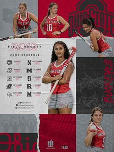 Wallpapers and Schedule Posters Sports Track, Sports Graphics, Event Flyers, Field Hockey, Ohio State Buckeyes, Schedule, Design Inspiration, College, Textiles
