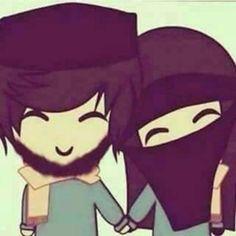 Cute Couple Cartoon, Cute Couple Art, Couples Comics, Anime Couples, Cute Muslim Couples, Cute Couples, Hijab Drawing, Islamic Cartoon, Art Village