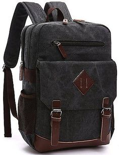 40feae5cf5 Aidonger Vintage Canvas Laptop Backpack School Backpack Black Laptop Bag