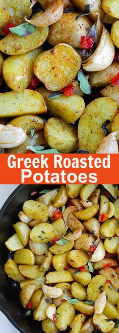 Greek Roasted Potatoes – easy and delicious roasted potatoes with garlic, oregano, olive oil and red bell peppers. Takes only 20 mins | rasamalaysia.com