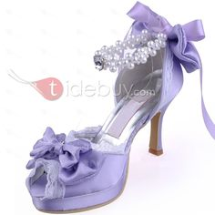 Romantic Bow Knot Pearls Satin Wedding Shoes