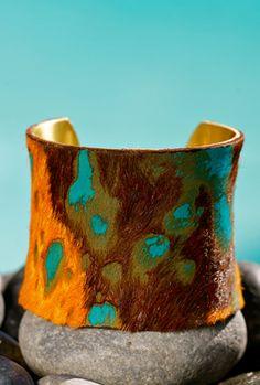 Brown, Orange and Aqua acid washed Brazilian Calfskin - Gorgeous!  I love the Rustic Cuff - I will own one one day soon.