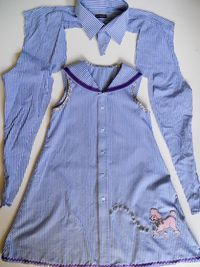 A Girl's Dress with Ribbon Sailor Collar Denim Purse, Denim Outfit, Handmade Clothes, Sewing Hacks, Sewing Tips, Sewing Ideas, Old Dresses, Girls Dresses, Baby Shirts