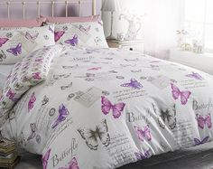 Chantelle Duvet Set Bright white duvet with a flurry of colourful butterflies. Available in duvet sets (single with 1 pillowcase, double and king size with 2 pillowcases). White Duvet, E30, Mattress Protector, Duvet Sets, Bed Design, King Size, Home Accessories, Pillow Cases, Bedroom Decor