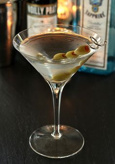 Perfect Martini  Four 25 ml measures of good gin One 25 ml measure of dry vermouth (Noilly Pratt) 1 inch strip of peel from an un-waxed lemon or skewered olives